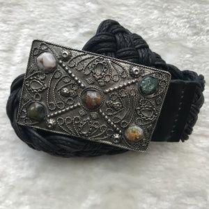 Chico's Braided Cloth Belt Silver Buckle W/Stones